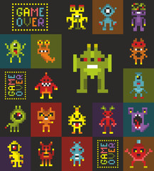 Endless wallpaper with pixel art. Retro style monsters from video game.