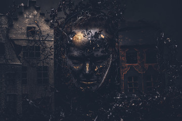 Make-up and horror concept. Abandoned city, absorbed by decompos Wall mural