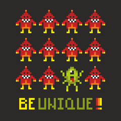 Motivating poster with pixel monsters.