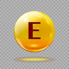 Gold pill capsule or gold drop with vitamin E on a transparent background. Medical or medical template.