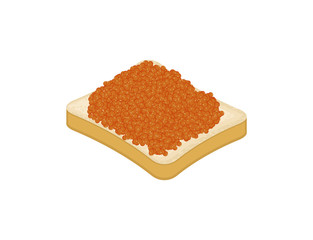 Sandwich with red Fish caviar isolated. Vector illustration
