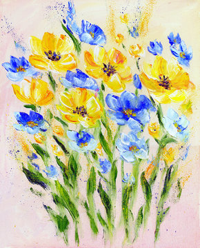 Hand painted modern style yellow and blue flowers. Spring flower seasonal nature background. Oil painting floral texture