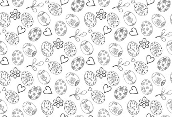 Seamless pattern with eggs, hearts, flowers and leaves.