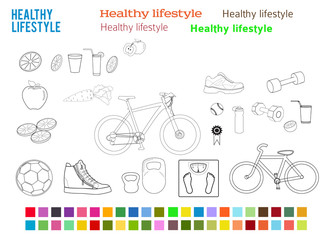Healthy Lifestyle set design elements color style icons fonts_light