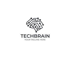 Circuit brain logo template. Artificial intelligence vector design. Human brain and circuit board illustration