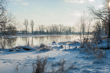 Winter view of the river Izhora