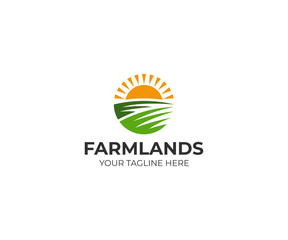 Farmland logo template. Rural landscape vector design. Agriculture illustration