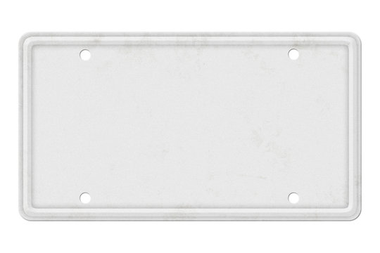 Blank White Vintage License Plate Isolated