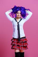 teenager girl in uniform