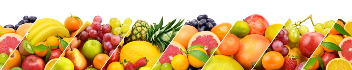 Collection fresh fruits isolated on white background. Panoramic collage. Wide photo
