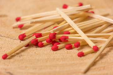 Set of Matches on a wooden background