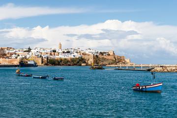 River Bou Regreg seafront and Kasbah in medina of Rabat, Morocco.