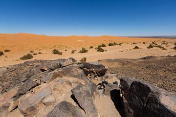 Bedouin desert near sanddunes of Merzouga, Morocco