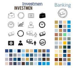 investmen set design elements color style icons fonts