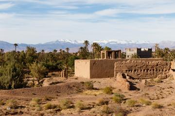 Kasbah, Traditional berber clay settlement in Sahara desert, Morocco