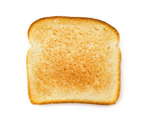 Slighty Golden Toast on a White Background