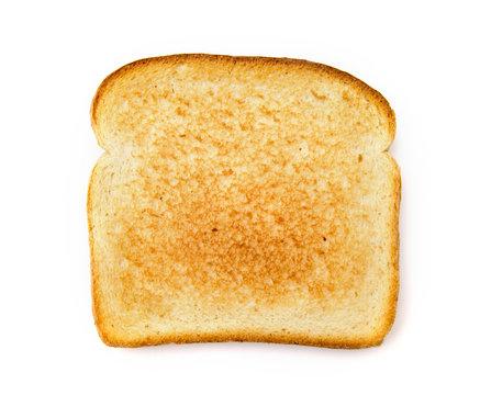 Slighty Golden Toast on a White Background