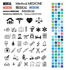 medical set design elements color style icons fonts