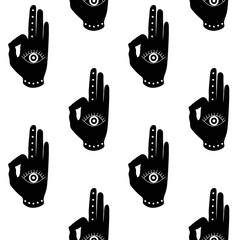 black hand with eye mudra buddhism hinduism symbol pattern seamless vector