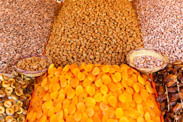 Colorful handmade craft and spices in Marrakesh, Morocco