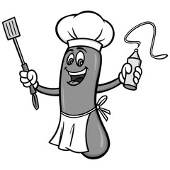 Hot Dog Cookout Illustration - A vector cartoon illustration of a Hot Dog Cookout mascot.