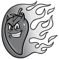 Hot Pepper Illustration - A vector cartoon illustration of a flaming Hot Pepper mascot.