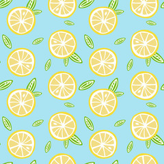 fruit lemon with green leaves on a light blue background pattern seamless vector