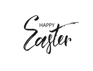 Hand lettering Happy Easter calligraphy text, isolated on white background. Vector illustration.