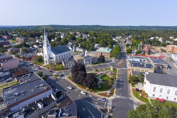 Woburn First Congregational Church aerial view in downtown Woburn, Massachusetts, USA.