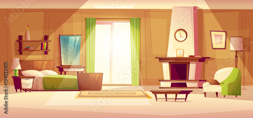 Vector Cartoon Illustration Of Cozy Modern Bedroom Living Room With Double Bed Fireplace