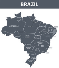 Brazil map with administrative devision on regions