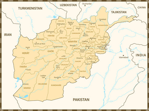 Afghanistan map with neighboring countries and rivers. Administrative division of regions.