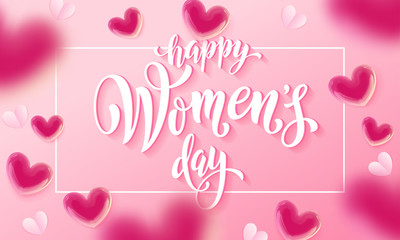 Happy women's day banner with ballon heart on romantic pink background. Vector 8 March greetings text poster for mother's day. International women's day flyer background template
