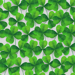 Vector four-leaf clover seamless pattern background. Lucky fower-leafed green background for Irish beer festival St Patrick's day. 3d realistic vector green grass clover isolated pattern background