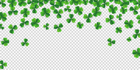 Patrick day background with vector four-leaf clover pattern background. Lucky fower-leafed green background for Irish beer festival St Patrick's day. Vector green grass clover pattern background Wall mural