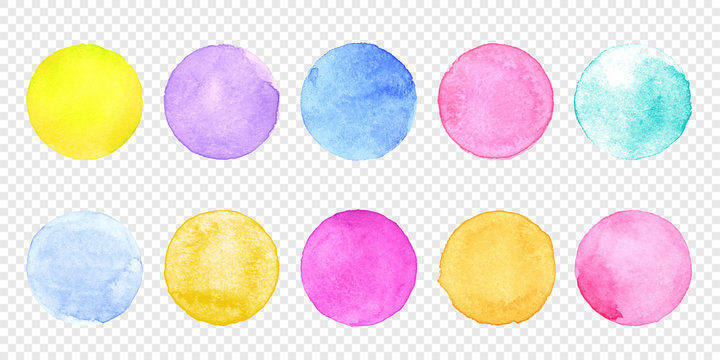 Color watercolor circle set. Vector smear watercolour splash stain on transparent background. Round hand drawn watercolor background with yellow, blue, red, pink, orange, green ink color.