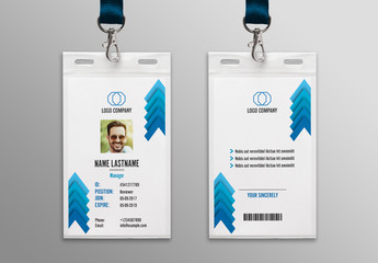 Blue Chevron ID Card Layout 1
