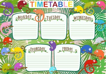 School schedule with cute chameleons. Vector illustration