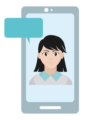 avatar woman inside smartphone with chat bubble