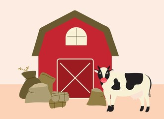 barn and cow vector illustration