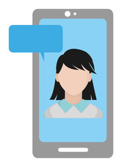 user woman faceless inside smartphone with chat bubble