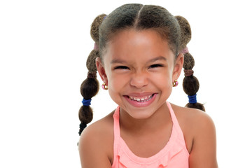 Cute multiracial small girl smiling  - Isolated on white