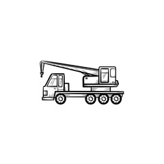 Mobile crane hand drawn outline doodle icon. Construction truck with mobile crane vector sketch illustration for print, web, mobile and infographics isolated on white background.
