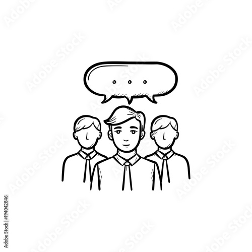 People teamwork hand drawn outline doodle vector icon  Collaboration