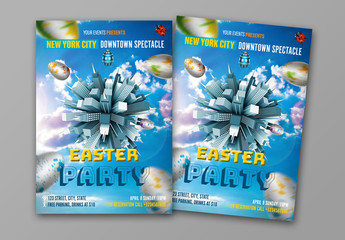 Cityscape Easter Party Flyer Layout 1