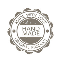 Rubber stamp icon. Hand made. Original product. Made with love.