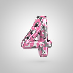 Camouflage number 4 with pink, grey, black and white camouflage pattern isolated on white background.