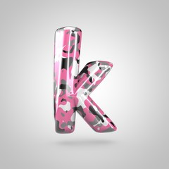 Camouflage letter K lowercase with pink, grey, black and white camouflage pattern isolated on white background.