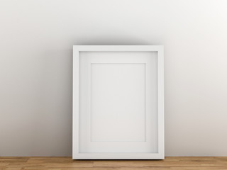Blank white picture frame template for place image or text inside put wood table.