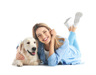 Portrait of happy woman with her dog on white background
